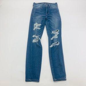 American Eagle Womens Jeans 0 Short Blue Hi-Rise